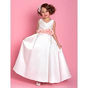 una línea de longitud del piso vestido de niña de flores - satén sin mangas con cuello en V con flores by lan ting bride®