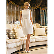 Sheath / Column Bateau Neck Knee Length S...