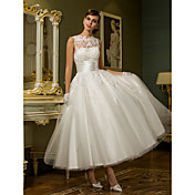 Princess Jewel Neck Ankle Length Lace Ove...