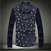 Hombres camiseta de la primavera nueva Marca de manga larga de punto Flower Denim