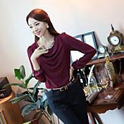 Ailuoer perla de la gasa de la camisa de cuello redondo de manga larga que basa la camisa (vino)