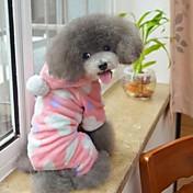 Gatos Perros Saco y Capucha Pijamas Marrón Rosado Ropa para Perro Invierno Primavera/Otoño Lunares Adorable Casual/Diario