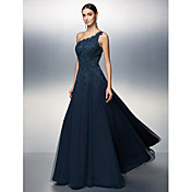 A-Line One Shoulder Floor Length Tulle Be...