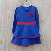 Vestido Chica deUn Color-Algodón-Primavera / Otoño-Azul / Rojo