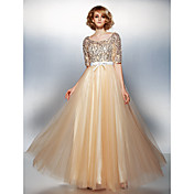 A-Line Scoop Neck Floor Length Tulle Sequ...