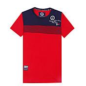 Camiseta De los hombres Estampado / A Rayas / Un Color-Casual / Trabajo / Formal / Deporte / Tallas Grandes-Algodón-Manga Corta-Rojo /