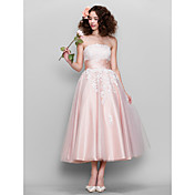 A-Line / Fit & Flare Strapless Ankle Leng...