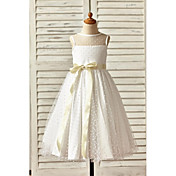 A-Line Ankle Length Flower Girl Dress - T...