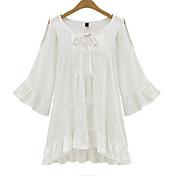 De las mujeres Simple Casual/Diario Otoño Camiseta,Escote Redondo Un Color Manga Larga Algodón Blanco / Negro Medio