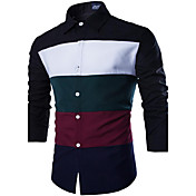 Men's Work Cotton Slim Shirt - Color Bloc...
