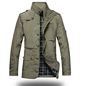 Men's Military Jacket - Solid Color Stand