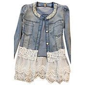 Women's Denim Jacket - Solid, Lace Beaded