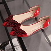 レディース 靴 レザーレット 夏 フラットヒール リベット スパークリンググリッター 用途 ドレスシューズ ブラック グレー レッド ピンク