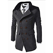 Men's Long Coat - Solid Color
