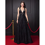 A-Line Plunging Neckline Floor Length All...