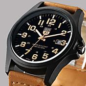Herr Armbandsur Quartz Kalender Läder Ban...