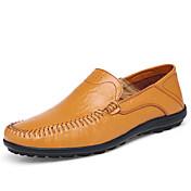 Hombre Zapatos Cuero Primavera Verano Otoño Confort Suelas con luz Zapatos de taco bajo y Slip-On Paseo Combinación Para Casual Negro