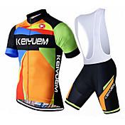 KEIYUEM Maillot de Ciclismo con Shorts Bib Unisex Manga Corta Bicicleta Sets de Prendas Secado rápido A prueba de polvo Listo para vestir