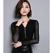 De las mujeres Simple Noche Primavera / Otoño Camiseta,Escote en Pico Un Color Manga Larga Acrílico / Licra Negro Medio