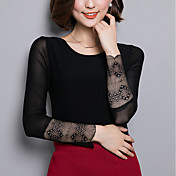 De las mujeres Sexy Noche / Casual/Diario / Tallas Grandes Otoño Camiseta,Escote Redondo Retazos Manga Larga Nailon Negro Fino