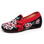 女性-カジュアル-キャンバス-フラットヒール-コンフォートシューズ 刺繍の靴-フラット-ブラック グリーン