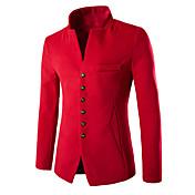 Men's Slim Blazer-Solid Colored Stand / L...