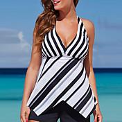 Women's Halter Tankini - Striped