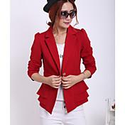 De las mujeres Simple Trabajo Primavera / Otoño Blazer,Solapa de Pico Un Color Manga Larga Rayón Rojo / Naranja Medio