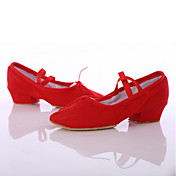 Moguće personalizirati-Ženske-Plesne cipele-Latino / Plesne tenisice-Saten-Kockasta potpetica-Crna / Ružičasta / Crvena