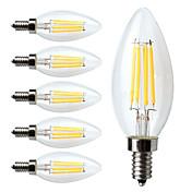 6pcs 380lm E12 LED Filament Bulbs C35 4 L...