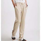 Men's Linen Slim Chinos Pants - Solid Col...