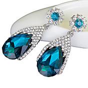 Mujer Pendientes colgantes Zafiro Joyería de Lujo Cristal Diamante Sintético Gota Joyas Para Boda Fiesta Diario