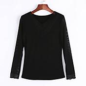 De las mujeres Simple Noche Primavera / Otoño Camiseta,Escote en Pico Un Color Manga Larga Algodón / Acrílico / Licra Negro Medio