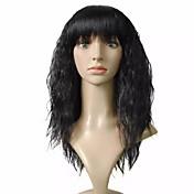 Mujer Pelucas sintéticas Sin Tapa Rizado rizado Negro Peluca natural Las pelucas del traje