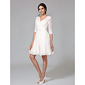 A-Line V Neck Knee Length All Over Lace M...