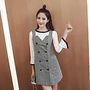 Hitz altavoz vestido a cuadros costura pieza de la manga señal 2016 de la moda coreana