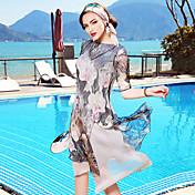 Mujer Corte Ancho Recto Vestido Casual/Diario Playa Noche Vintage Simple Sofisticado,Floral Escote Barco Hasta la Rodilla 1/2 Manga Seda
