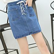 Signo 2017 primavera y otoño versión coreana de la correa de cintura alta retro falda de mezclilla falda busto doble bolsillo falda una