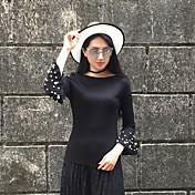 primavera signo nueva camisa de manga coreano delgado manguito de altavoces con cuentas de manga larga cabeza femenina