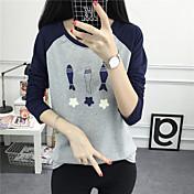 2017 la nueva personalidad del resorte que hace realmente tres pequeños pescados que imprimen blusa floja de las blusas de la largo-manga
