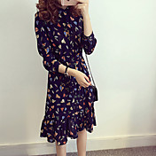 2016 primavera nuevo vestido floral de la gasa de la cintura femenina de gran tamaño de manga larga con volantes basando la falda