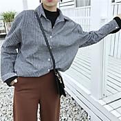 otoño realmente lo que Corea del retro a rayas chaqueta de manga larga camisa de algodón delgada salvaje estudiantes de sexo femenino