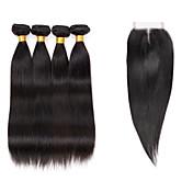 Cabello humano Cabello Brasileño Tejidos Humanos Cabello Liso Extensiones de cabello 5 Piezas Negro