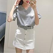 サイン夏新Vネックホルターネックブラウスストライプのシャツ+ブレストスカートスーツスカートパッケージベルト