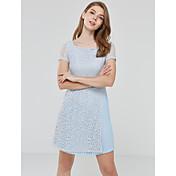 Mujer Encaje Vestido Noche Bonito,Un Color Escote Cuadrado Hasta la Rodilla Manga Corta Azul Otro Verano Tiro Medio Microelástico