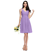 A-Line V Neck Knee Length Chiffon Bridesm...