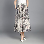 Mujer Estilo Dulce Tiro Alto Chinos Pantalones,Perneras anchas Estampado Plisado Gasa Borlas