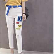 Mujer Chic de Calle Tiro Medio Microelástico Chinos Pantalones,Pitillo Letra rasgado