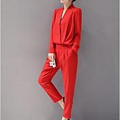 Women's Cotton Jumpsuit - Solid Colored V...