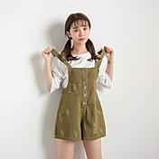 Mujer Adorable Sencillo Activo Tiro Medio Microelástico Chinos Mono Pantalones,Corte Ancho Corte Recto Un Color Color puro